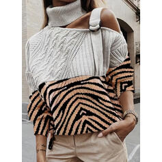 Print Color Block Cable-knit Turtleneck Casual Sweaters