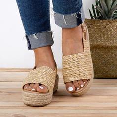 Femmes Tissu Talon plat Sandales Chaussures plates avec Boucle chaussures
