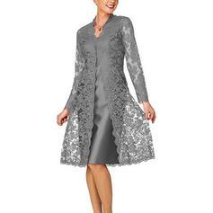 Lace/Solid Long Sleeves Shift Knee Length Elegant Dresses