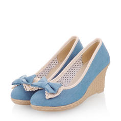 Women's Denim Wedge Heel Pumps Closed Toe Wedges With Bowknot shoes