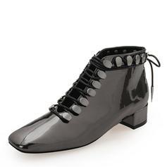 Femmes Cuir verni Talon bottier Bout fermé Bottines Martin bottes avec Rivet Dentelle chaussures