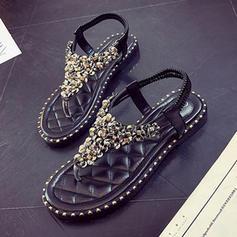 Women's Leatherette Flat Heel Sandals Flats Flip-Flops With Sequin shoes