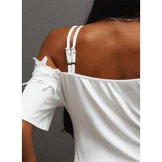 Solid Lace Short Sleeves Cold Shoulder Sleeve Shift Above Knee Elegant Dresses
