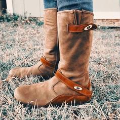 Frauen PU Flascher Absatz Stiefel mit Schnalle Reißverschluss Schuhe