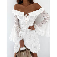 Solid Long Sleeves Flare Sleeve A-line Above Knee Casual Skater Dresses