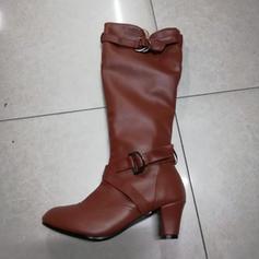 Donna Similpelle PU Tacco a spillo Stiletto Punta chiusa Stivali Stivali altezza media con Fibbia Increspature scarpe