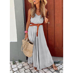 Solid Sleeveless A-line Skater Casual/Vacation Maxi Dresses