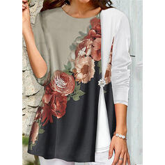 Print Floral Round Neck 3/4 Sleeves Casual Blouses
