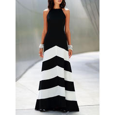 Striped Sleeveless A-line Skater Party Maxi Dresses