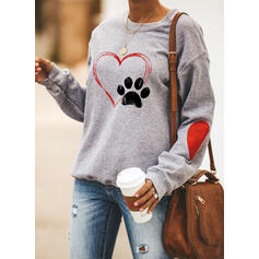 Motif Animal Cœur Col rond Manches longues Sweat-shirts