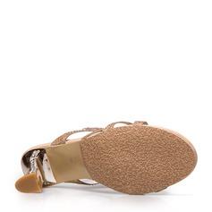 Frauen Funkelnde Glitzer Stöckel Absatz Sandalen Pantoffel mit Strass Schmuckabsatz Schuhe
