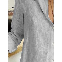 Düz / Tek (Renk) klapa Uzun kollu Düğmesiz Yakalı Günlük Gömlekler