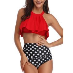 Dot Halter Cute Bikinis Swimsuits