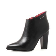 Femmes PU Talon bottier Escarpins Bottines avec Strass Zip chaussures