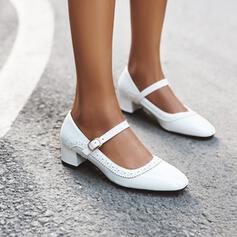 Femmes Cuir verni Talon bas Talon bottier Escarpins Bout pointu avec Boucle chaussures