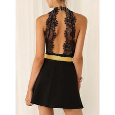 Lace/Solid Sleeveless A-line Above Knee Little Black/Sexy/Party/Elegant Dresses