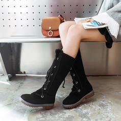 Kvinner PU Lav Hæl Mid Leggen Støvler Snø Støvler med Blondér sko