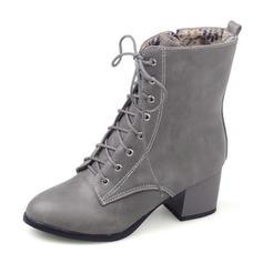 Dla kobiet Skóra ekologiczna Guma Obcas Slupek Zakryte Palce Kozaki Kozaki do polowy lydki Martin Buty Riding Boots Z Sznurowanie obuwie