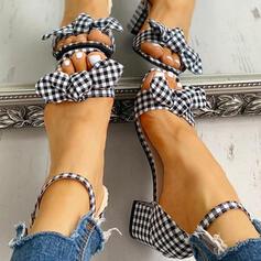 Тканина Квадратні підбори Насоси взуття на короткій шпильці з Пряжка взуття