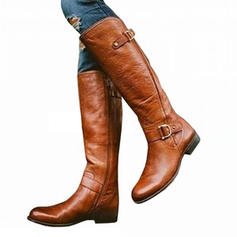 Women's PU Chunky Heel Boots Knee High Boots With Buckle Zipper shoes