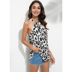 Leopard Round Neck Sleeveless Casual Sexy Tank Tops