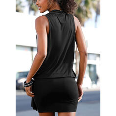 Jednolita Bez rękawów Bodycon Nad kolana Mała czarna/Casual Sukienki