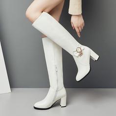 Kvinner Lær Stor Hæl Pumps Støvler Knehøye Støvler sko