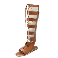 Women's Leatherette Flat Heel Sandals Flats Slingbacks Knee High Boots With Zipper shoes