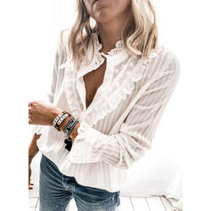 Striped Lace Stand collar Long Sleeves Button Up Casual Blouses