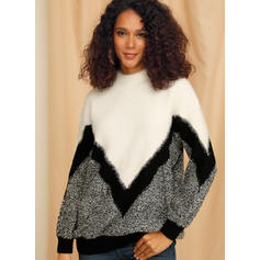 Color Block Chunky knit Stand Collar Sweaters