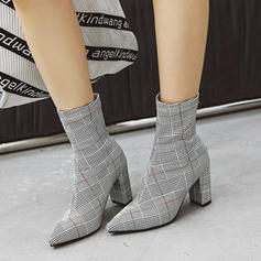 Women's Leatherette Chunky Heel Pumps Boots Mid-Calf Boots shoes