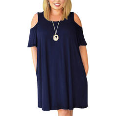 Solid 1/2 Sleeves Shift Knee Length Casual/Plus Size Dresses