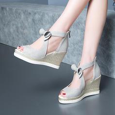 Femmes Cuir en microfibre Talon compensé Escarpins Compensée avec Bowknot chaussures