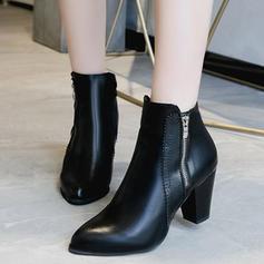 De mujer PU Tacón ancho Salón Cerrados Botas con Cremallera zapatos