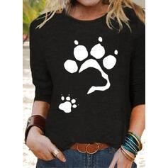 Impresión Animal Cuello Redondo Manga Larga Camisetas
