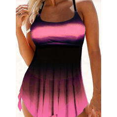 Junção de cores Cinta Sexy Tamanho positivo Vestidos de banho Maiôs