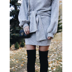Einfarbig Lange Ärmel Figurbetont Über dem Knie Freizeit Kleider