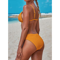 Jednolity kolor W prążki Seksowny Świeży Bikini Stroje kąpielowe