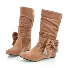 Femmes Similicuir Talon plat Chaussures plates Bout fermé Bottes Bottes mi-mollets chaussures