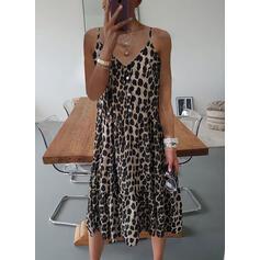 Print/Leopard Sleeveless Shift Slip Casual Midi Dresses