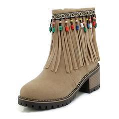 Femmes Suède Talon bottier Bottes avec Tassel chaussures