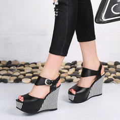 Women's PU Wedge Heel Sandals Platform Wedges Peep Toe Slingbacks With Others shoes