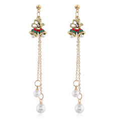 Unique Shining Alloy With Imitation Pearl Earrings Christmas Jewelry