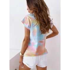 Tie Dye V-Neck Short Sleeves Casual T-shirts