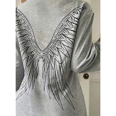 Impresión Cuello Redondo Mangas 3/4 Camisetas