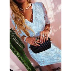 レース/固体 1/2袖 シースドレス 膝上 エレガント ドレス