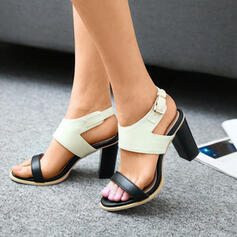 Women's Chunky Heel Sandals Pumps With Buckle Splice Color shoes