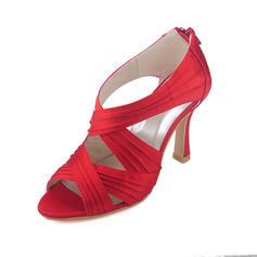 Women's Satin Spool Heel Boots Peep Toe Pumps With Ruched Zipper