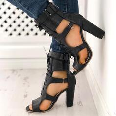 Frauen PU Stämmiger Absatz Absatzschuhe Peep Toe mit Zuschnüren Hohl-out Kreuz und quer Schuhe
