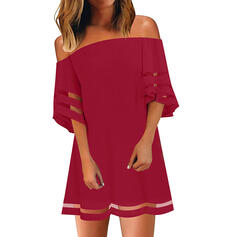 Solid 3/4 Sleeves Shift Above Knee Little Black/Casual Dresses